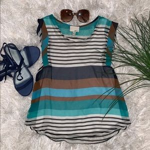 GUC Greylin Striped Silky Brown/Navy/Teal Top (M)
